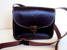 Small Messenger Bag Black Vegetable Tanned Leather by ammaciyo - purple