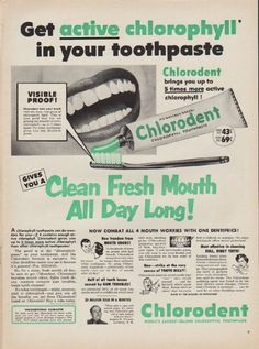 "Description: 1952 CHLORODENT TOOTHPASTE vintage print advertisement ""Get active"" -- Get active chlorophyll in your toothpaste ... Gives You A Clean Fresh Mouth All Day Long! Chlorodent - World's Largest-Selling Chlorophyll Toothpaste -- Size: The dimensions of the full-page advertisement are approximately 10.5 inches x 14 inches (26.75 cm x 35.5 cm). Condition: This original vintage full-page advertisement is in Excellent Condition unless otherwise noted."