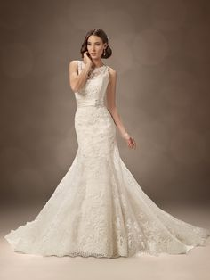 Fit and Flare Lace Wedding Gown with Bateau Neckline with Crystal Brooch Embellishment