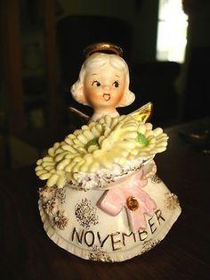 Lefton Birthday Angel Figurine November Girl Mums Topaz 489 Vintage Geo Z Lefton