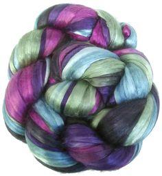 Handpainted Bombyx Silk Roving - 2 oz. TWILIGHT - Spinning Fiber
