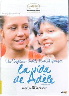 La vida de Adèle (DVD). /  Dir: Abdellatif Kechiche. /  Adèle (Adèle Exarchopoulos) ten quince anos e sabe que o normal é saír con mozos, pero ten dúbidas sobre a súa sexualidade. Unha noite coñece e namórase inesperadamente de Emma (Léa Seydoux), unha moza co pelo azul. A atracción que esperta nela unha muller que lle mostra o camiño do desexo e a madurez, fará que Adèle teña que sufrir os xuízos e prejuicios de familiares e amigos.