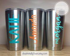 Personalized Yeti Rambler Tumbler 20oz, Yeti Cup, Custom Name, Personalized Christmas Gift Idea by shopInitiallyYours on Etsy https://www.etsy.com/listing/255780417/personalized-yeti-rambler-tumbler-20oz