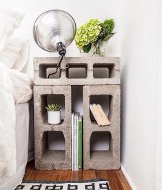 cinderblock end table/night stand and industrial clip lamp