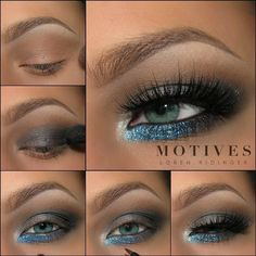 Add a pop of blue to your look to highlight your eye color we love the look that @theamazingworldofj created for Aqua eyes using Motives!✨✨ Motives Mavens Element Palette, Khol Eyeliner Onyx, Pressed Shadows in Gun Metal & Onyx, Paint Pot in Glamour, G