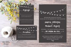 The Light Up My Life Wedding Invitation Suite | Printable or Printed | String Lights | Includes 2 enclosure cards | Envelopes Included www.etsy.com/shop/junearbordesigns #wedding #weddingpaper #weddinginvitation #etsy #etsyshop #etsyseller #stationary #printable #DIY  #stringlights #lights #rustic #country