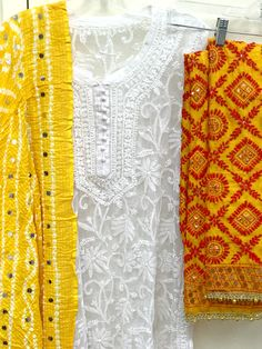 White Hand Embroidered Multi Color Phulkari Pants with Ghungroo details on bottom. Churidar Designs, Kurta Designs Women, Blouse Designs, Dress Designs, Indian Suits, Indian Attire, Indian Ethnic Wear, India Fashion, Ethnic Fashion