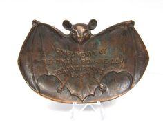 Antique Cast Iron Bronze Finish Advertising Pin