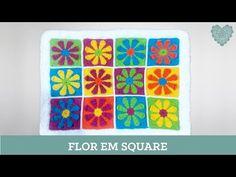 Criações em crochê: Flor em Square | Luciana Ponzo - YouTube