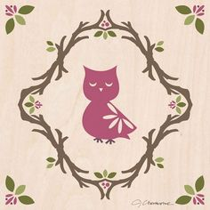 """Enchanted Forest Owl"" wall decor for kids by Jen Christopher for Oopsy Daisy, Fine Art for Kids"