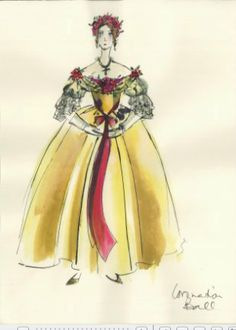 """""""The Young Victoria"""": A sketch from costume designer Sandy Powell. The Young Victoria, Queen Victoria, Theatre Costumes, Movie Costumes, Historical Costume, Historical Clothing, Victoria Costume, Sandy Powell, Costume Design Sketch"""
