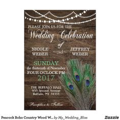 Peacock Boho Country Wood Wedding Card Beautiful custom wedding design featuring a Peacock theme. Perfect for that rustic or barn wedding. You can customize and personalize it any way you wish.