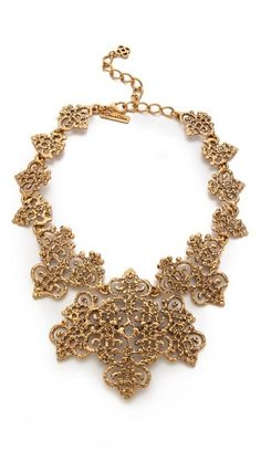 Oscar de la Renta Gold Lace Necklace on shopstyle.com