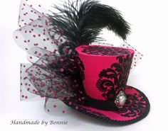 Tiny Top Hat / Hot Pink with Black Damask / by BonnieMadeDesigns, $50.00