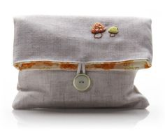 Clutch Purse Linen With Embroidered Mushrooms