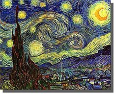 Starry Night By Vincent Van Gogh Painting on Stretched Canvas, Wall Art Decor Ready to Hang!.
