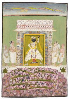 The worship of Sri Nathji. Raghogarh, Rajasthan, North India, c.1800. Sri Nathji enshrined in a small temple flanked by four Brahmins, a miniature hilly landscape with monkeys, birds, elephants, cows, and small temple and cowherders in the foreground