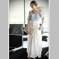 Women's Ruffled Splicing Maxi Dress – USD $ 25.89
