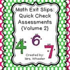 These are exit slips that have been bundled together ! These Math exit slips provide 'quick checks' so you may monitor how your students are progressing in areas such areas as 3 digit addends, <, =, >, tens and ones, 3-D and 2-D shapes, etc. Volume 2