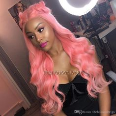 Glueless Pure Pink Lace Front Wig With Baby Hair For Women Virgin Human Hair Laces Wigs Bleached Knots Full Lace Wig Wavy Brazilian Pink Lace front Wig Human Hair Laces Wigs Full Lace Wig Wavy Online with $606.25/Piece on Thehouseofwigs's Store | DHgate.com African Hairstyles, Wig Hairstyles, Colored Wigs, Human Hair Lace Wigs, Long Curly, Remy Hair, Pink Lace, Lace Front Wigs, Knots