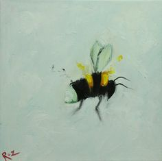Bee painting 328 12x12 inch insect animal portrait original oil painting by Roz