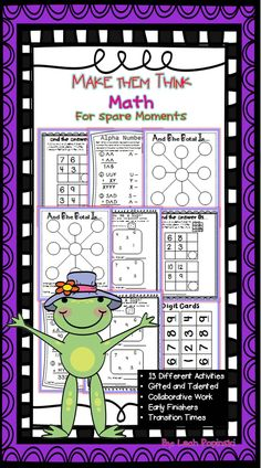 Math for Spare Moments is perfect for early finishers, math centers, collaborative work, and tasks for gifted learners. Each activity includes the use of the Common Core Mathematical Practices and the Texas TEKS Process Standards. If you need your fourth and fifth graders thinking, reasoning, and using number sense, you need this! Grades 4-5 $