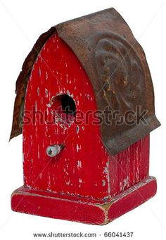 antique+birdhouses | Old Red Antique Aged Birdhouse With Metal Roof. Stock Photo 66041437 ...