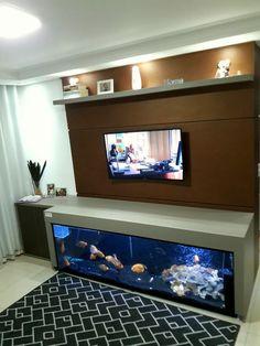 Home Decor Hooks, Home Entrance Decor, Diy Home Decor, Wall Aquarium, Aquarium Design, Living Room Tv, Home And Living, Tv Wall Design, House Design