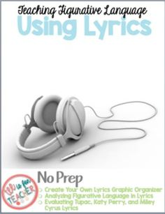 """The following product contains song lyrics that your students can analyze for meaning and figurative language.The lyrics are from Katy Perry, Tupac Shakur, Miley Cyrus, U2, Lil Wayne and more :)If you like this product, you would LOVE these products in my store: Figurative Language Handouts Grades 6-12 ELA Click here*Teaching """"The Flowers"""" by Alice Walker - PARCC Aligned Questions and the Full Short StoryClick hereTeaching """"The American Dream"""" using """"I Too Sing America"""" by Langston Hughes…"""