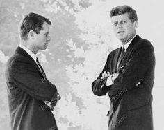 U.S President Kennedy & Brother Robert Chat Vintage 1960s Reprint 8x10 Old Photo