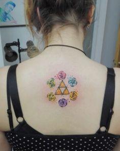 Watercolor Triforce.  Trifuerza de acuarela.  #watercolortattoo #watercolor…