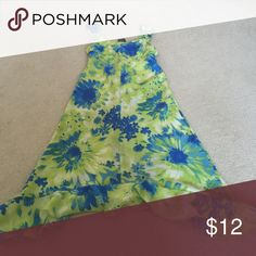 Neon green and blue floral sundress 100% polyester AK Hype Dresses Casual