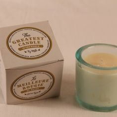 75g the greatest candle - recycled oil glass candles! £6 http://www.candlesnaturally.co.uk/shop/glass-candles/tgc-75g-chunky-glass/