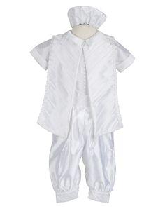CARLO -Hermoso traje en shantung, bordado. Las tallas 24 y 36 no incluyen zapatitos se cotizan aparte.  Incluye: Camisa, pantalon, estola y gorro.