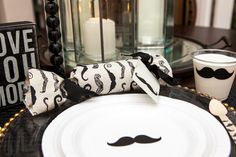 Table at a Mustache Party #mustache #party #ideas
