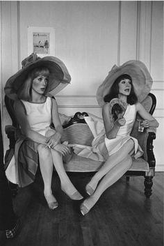 "Catherine Deneuve (23y) and Françoise Dorléac(24y),1966, on the set of ""Demoiselles de Rochefort "" by Jacques Demy."