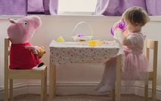 Peppa pig pretty tea party photoshoot - South Wales Child Photography by Sweet Whimsy Photography