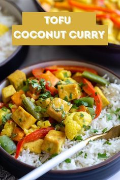 This simple and delicious tofu coconut curry is filing, comforting, and perfect for easy weeknight vegan dinners! So good on it's own or served with rice! Tofu Curry, Vegan Curry, Tofu Recipes, Curry Recipes, Vegetarian Recipes, Cooking Recipes, Vegan Dinners, Filing, Kitchens