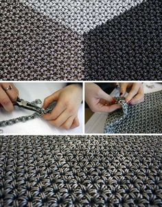 chainmail traditional japanese method Note: 12 in 2 Chainmail Armor, Chainmail Patterns, Samurai Armor, Medieval Armor, Chain Mail, Metal Crafts, Wire Art, Blacksmithing, Traditional Japanese