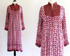 Vintage 70s Indian India Tent Bib Gauze Metallic Boho Hippie Ethnic Festival Maxi Dress . SM . No.640.11.17.13