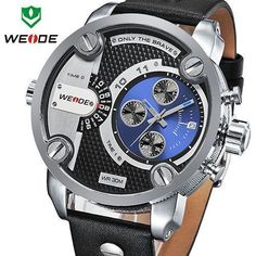 WEIDE New Oversized Men's Quartz Leather Strap Sports Military Watches Luxury Brand Quartz Watch 3ATM Water Resistant #HipHopRingsDiamond