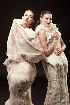 Sculptural Fashion - conceptual dress designs with layered fabrics & sculpted silhouettes; wearable art // Roxanna Zamani
