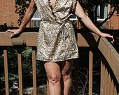Vintage 80s Tan Wrap Dress / Cover up – Sheer – Seductive Wear – Size Large