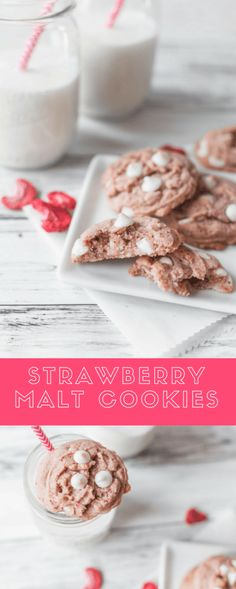 Strawberry Malt Cookies are perfectly pink for your Valentines Day. Sweet strawberry, rich malt and creamy white chocolate make an amazing Valentines Day dessert.
