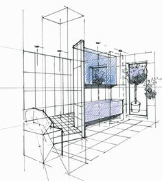 Perspective d 39 un concept en combles avec cuisine ouverte for Dessin architecte interieur
