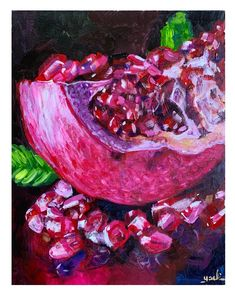 Pomegranate with reflection painting