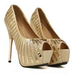 Elegant Style Sexy Gold High Heels and Sequins Design Women's Peep Toed Shoes