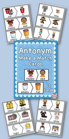 $2 Antonym match up cards! Perfect for centers, magnetic board, or pocket chart!