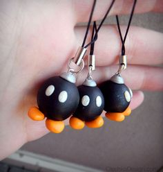 BobOmb Bomb Mario Bros Polymer Clay Charm with by OlechkaDesign, $8.00