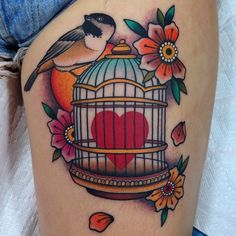 "Along this line...I love the cage. And the heart. ""Above all else, guard your heart..."". But maybe with little swallows."